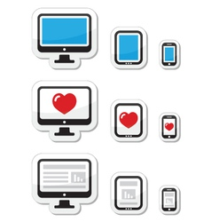 Computer screen tablet and smartphone icons vector image vector image