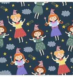 Cute fairies seamless pattern vector image