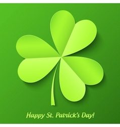 Green paper cutout clover Patricks Day card vector image