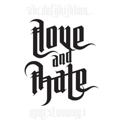 Love and hate lettering vector