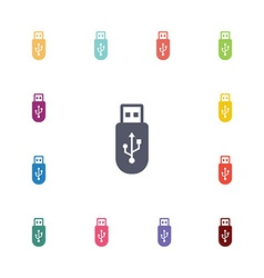 usb flat icons set vector image