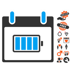 battery calendar day icon with lovely bonus vector image vector image