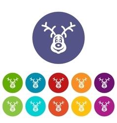 Christmas deer set icons vector image
