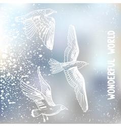grunge birds vector image