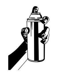 Hand with spray paint vector