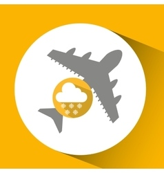 plane travel weather forecast cloud snow icon vector image