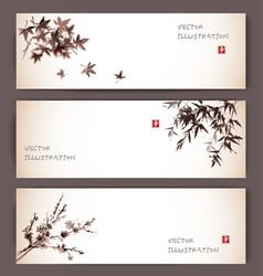 three banners with maple bamboo and sakura vector image vector image