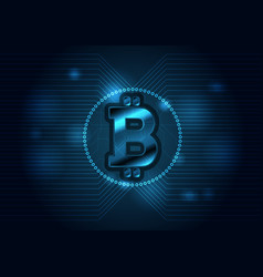 dark blue technology background with bitcoin vector image