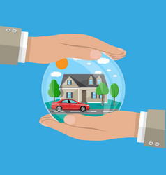 Hands of agent protect house and car vector