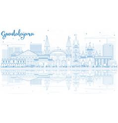 Outline guadalajara skyline with blue buildings vector