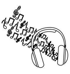 silhouette headphones with musical notes vector image vector image