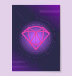 sketch of precious diamond on circle lines crystal vector image vector image