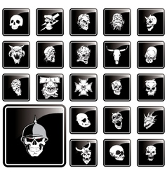 skull button vector image vector image