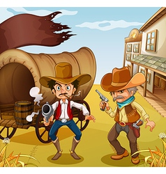 Two men holding guns with a wooden carriage at the vector image vector image