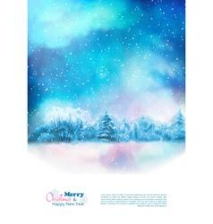 Watercolor winter christmas flyer vector