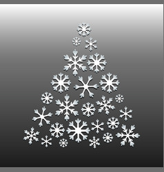 white snowflake christmas tree on gray background vector image vector image