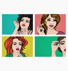 woman doing makeup beautiful girls with cosmetics vector image