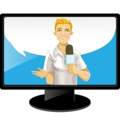 Blond reporter boy with speach bubble on TV vector image vector image