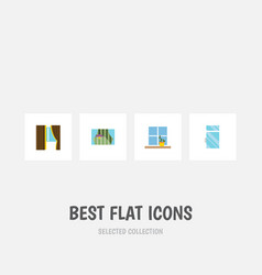 flat icon glass set of flowerpot clean glass and vector image vector image