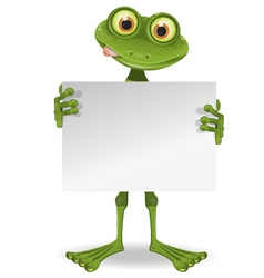Frog with a white paper vector image
