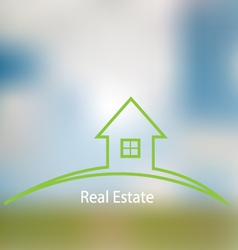 Icon sale of real estate on a blurred background vector image vector image