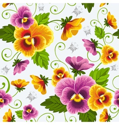 seamless background with pansy vector image vector image