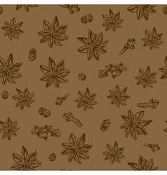 Seamless seasoning pattern with star anise and vector image