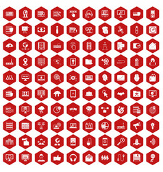 100 cyber security icons hexagon red vector