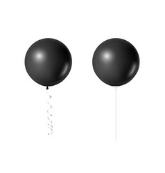 3d realistic black balloon set isolated on vector image