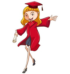 A simple coloured drawing of a girl graduating vector