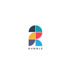 Abstract simple tiles letter r logo shape design vector