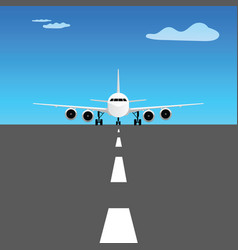 Airplane on runway design vector