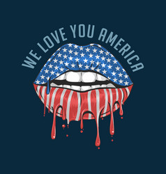 america lips flag we love you america artwork vect vector image