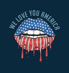 America lips flag we love you artwork vect vector