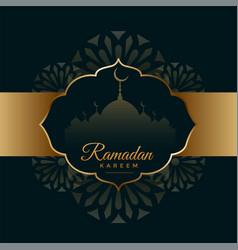 Arabic ramadan kareem black and gold festival card vector