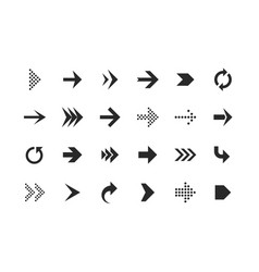arrow icons arrows set up pointer right curve vector image