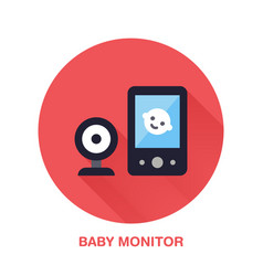 baby monitor flat style icon wireless technology vector image