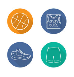 basketball flat linear long shadow icons set vector image