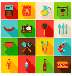 Bbq party colorful icons vector