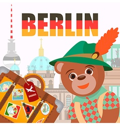 Bear in Berlin in national symbol hat with a suitc vector image