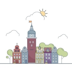 Beautiful outline city landscape Little colorful vector image vector image