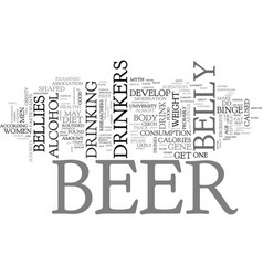 Beer bellies a myth text word cloud concept vector