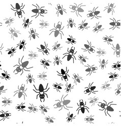 Black ant icon isolated seamless pattern on white vector