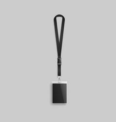 Blank realistic id card lanyard mockup with black vector