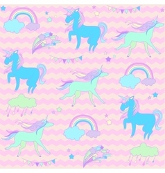 Blue and green unicorns with stars on a pink vector image