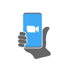 Blue camera icon - live media streaming vector