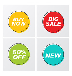 bright flat sale buttons with discount offers vector image