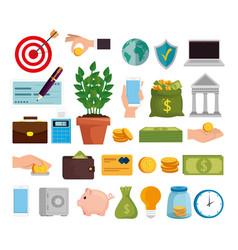 Bundle finance set icons vector