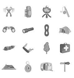 Camping icons set black monochrome style vector image