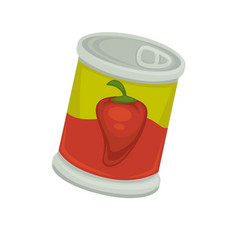 Can with preserved peppers vector
